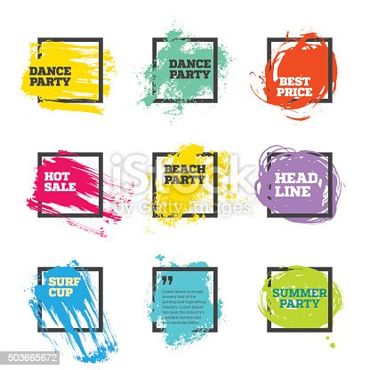 istock Vector set of paint and square frames 503665672