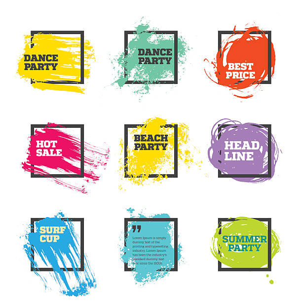 Vector set of paint and square frames vector art illustration