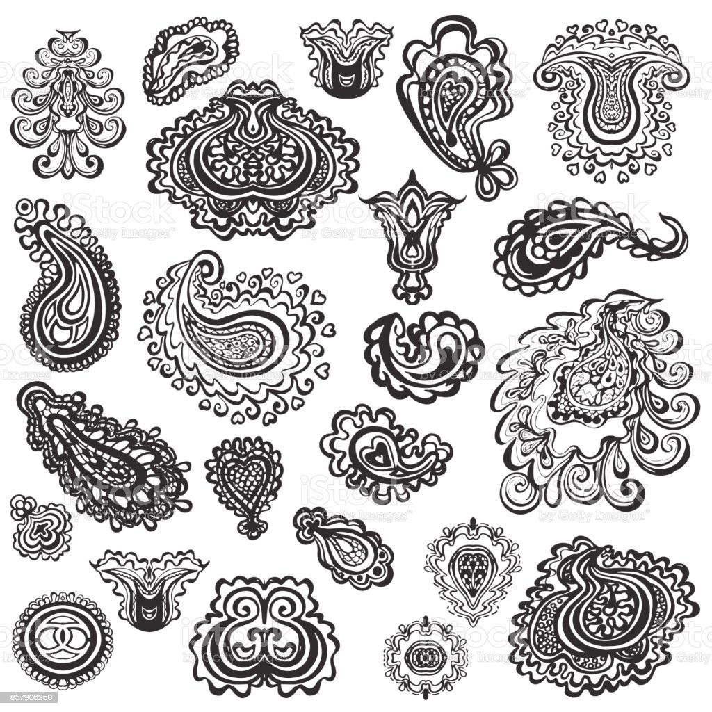 Vector set of paisley elements