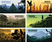 vector set of panorams countries Central America - Guatemala, Mexico, Honduras, Nicaragua, Panama, Costa Rica
