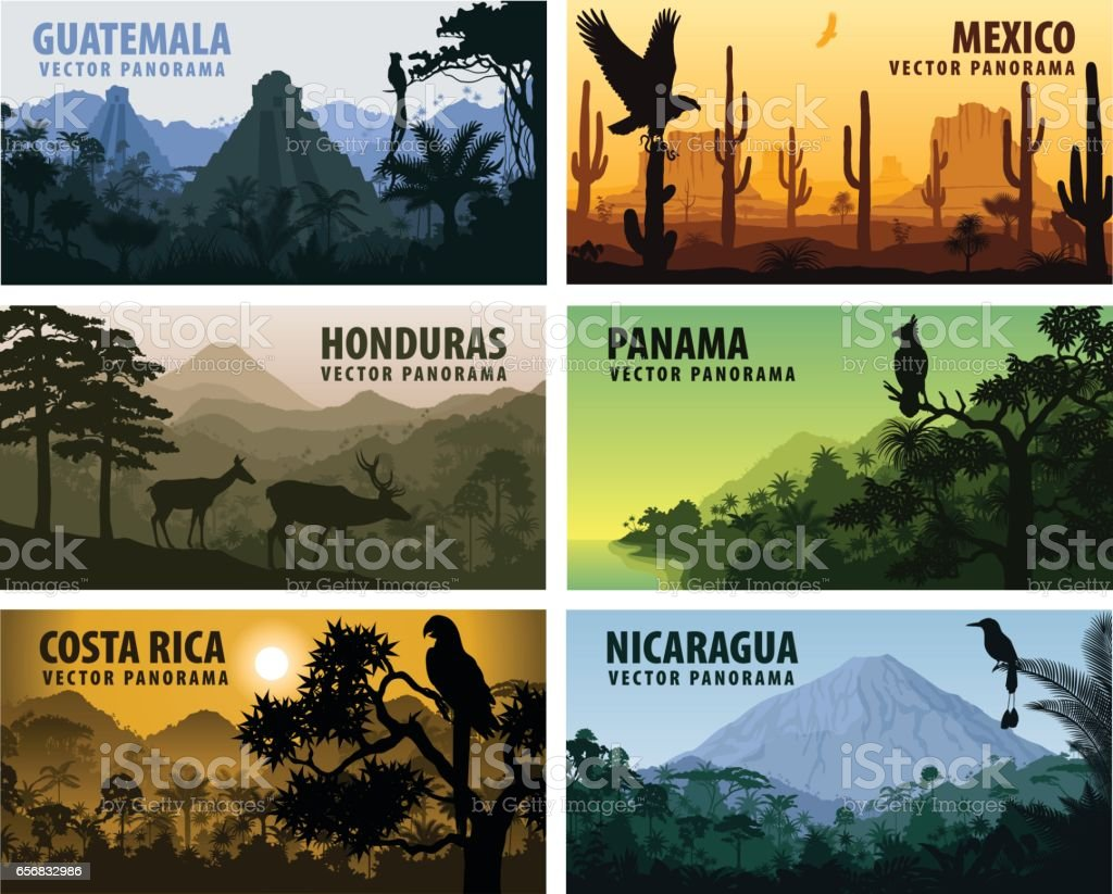 vector set of panorams countries Central America - Guatemala, Mexico, Honduras, Nicaragua, Panama, Costa Rica vector art illustration
