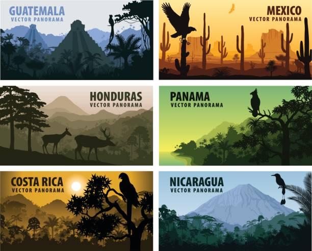 vektor-frei länder mittelamerika - guatemala, mexiko, honduras, nicaragua, panama, costa rica - vulkane stock-grafiken, -clipart, -cartoons und -symbole
