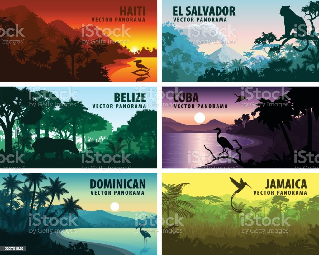 vector set of panorams countries of caribbean and Central America - Haiti, Jamaica, Dominicana, Cuba, El Salvador, Belize. vector art illustration