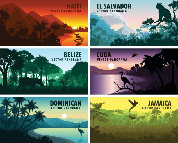 vector set of panorams countries of caribbean and central america - haiti, jamaica, dominicana, cuba, el salvador, belize. - animals background stock illustrations
