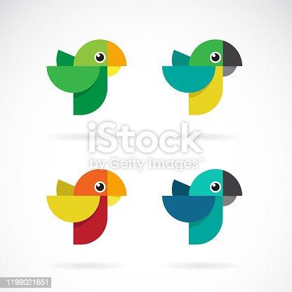 Vector set of parrot design on white background. Wild Animals. Birds. Easy editable layered vector illustration.