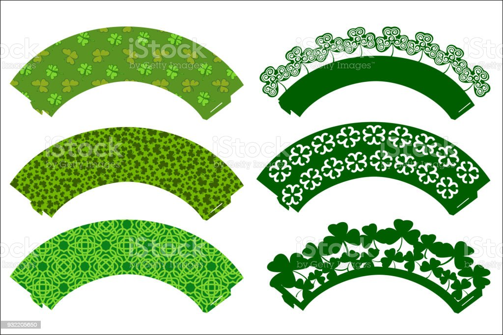 Vector set of Party Cupcake Decorations for St. Patrick's Day. Cake wrapper templates with clovers. Print and cut. Digital Die Cutting and printable pattern party supplies. vector art illustration