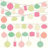 Vector Set of Pastel Colored Holiday Paper Lanterns and Lights