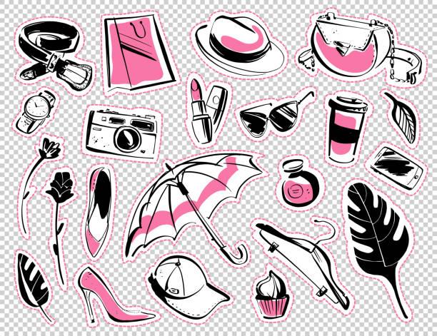 向量一套補丁和貼紙與現代女士時尚配飾-鞋, 眼鏡, 化妝品, 香氣, 怪物葉, 購物袋, 智慧手機孤立在白色背景。 - 女性化 幅插畫檔、美工圖案、卡通及圖標