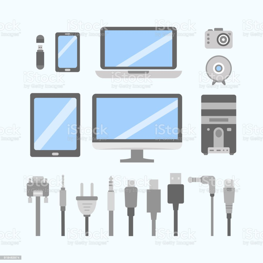 vector set of pc gadgets and devices flat icons cable wire computer vector set of pc gadgets and devices flat icons cable wire computer and electricity plug