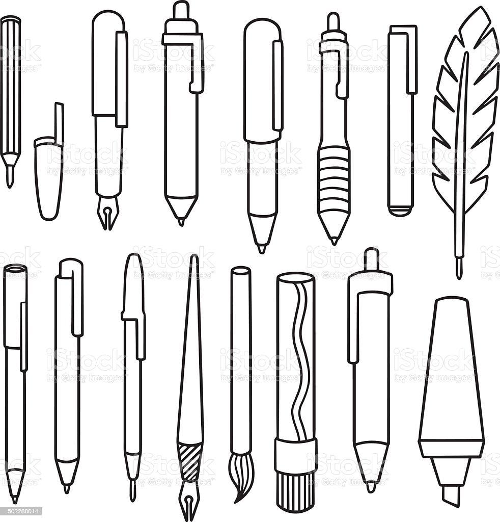 vector conjunto de pluma - ilustración de arte vectorial