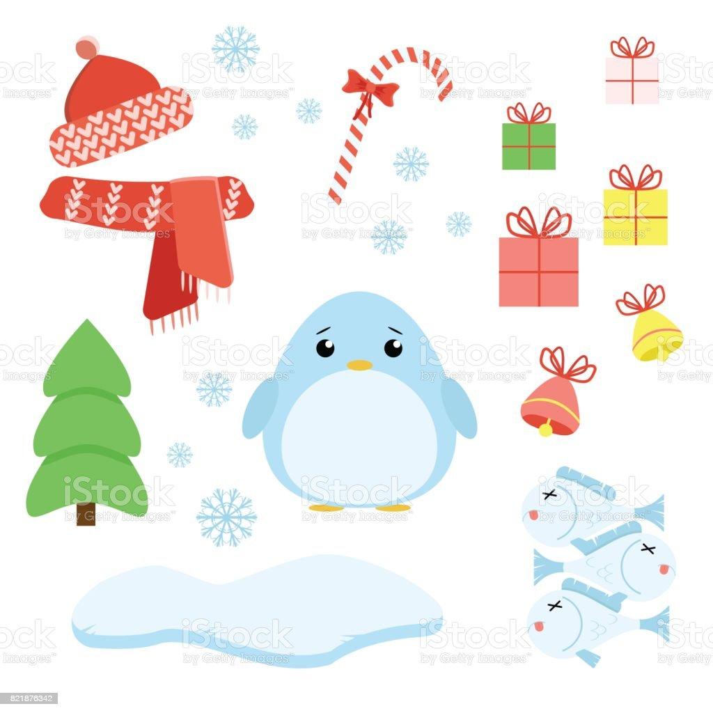 ベクトルのクリスマス スタッフとペンギンのセット ロリポッププレゼント