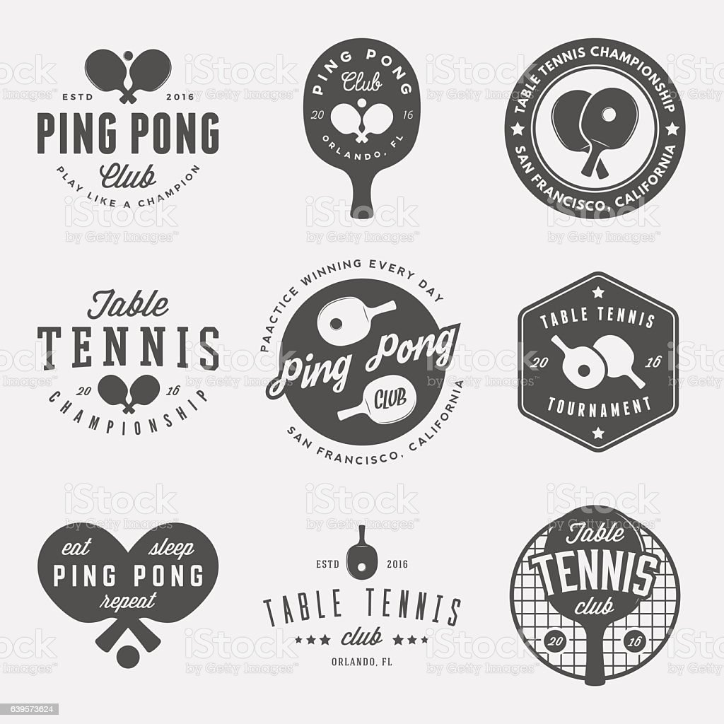 vector set of ping pong logos, emblems and design elements vector art illustration