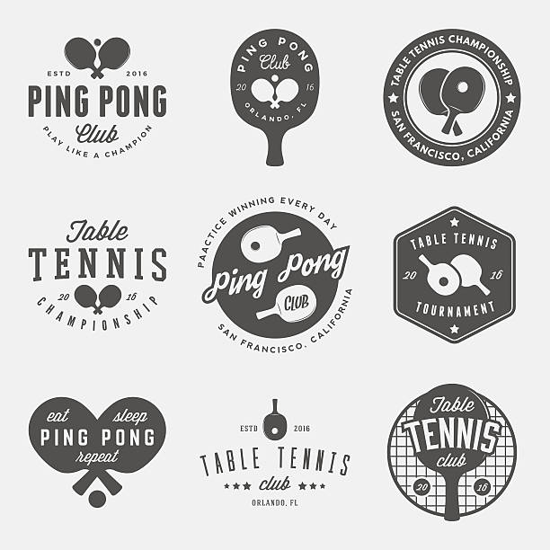 vector set of ping pong logos, emblems and design elements vector set of ping pong logos, emblems and design elements. table tennis logotype templates and badges table tennis racket stock illustrations