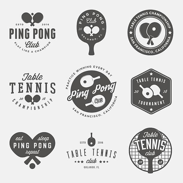 stockillustraties, clipart, cartoons en iconen met vector set of ping pong logos, emblems and design elements - sportkampioenschap