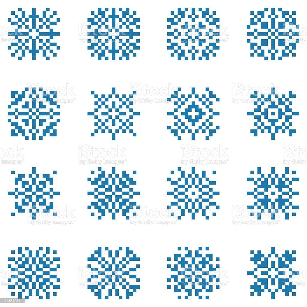 Vector Conjunto De Píxeles Snowflakes Para Patrones Y Embroi De ...