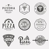 vector set of pizzeria labels and badges