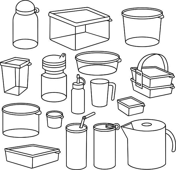Wektor zestaw opakowań z tworzyw sztucznych – artystyczna grafika wektorowa