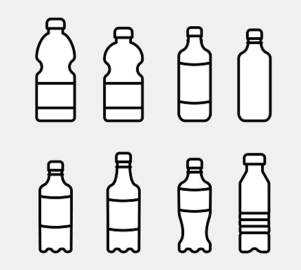 Vector set of plastic dishes in the form of bottles, containers for drinks, mineral and purified water. Concept: advertising drinks, soda, cold teas. Remember to drink two liters daily.