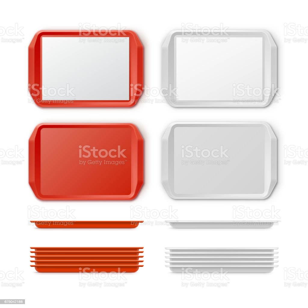Vector Set of Plastic salver vector art illustration