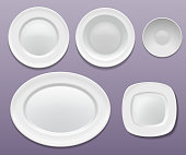 Set of white isolated plates: round, oval and square. Deep plate, soup bowl, flat plate, tray