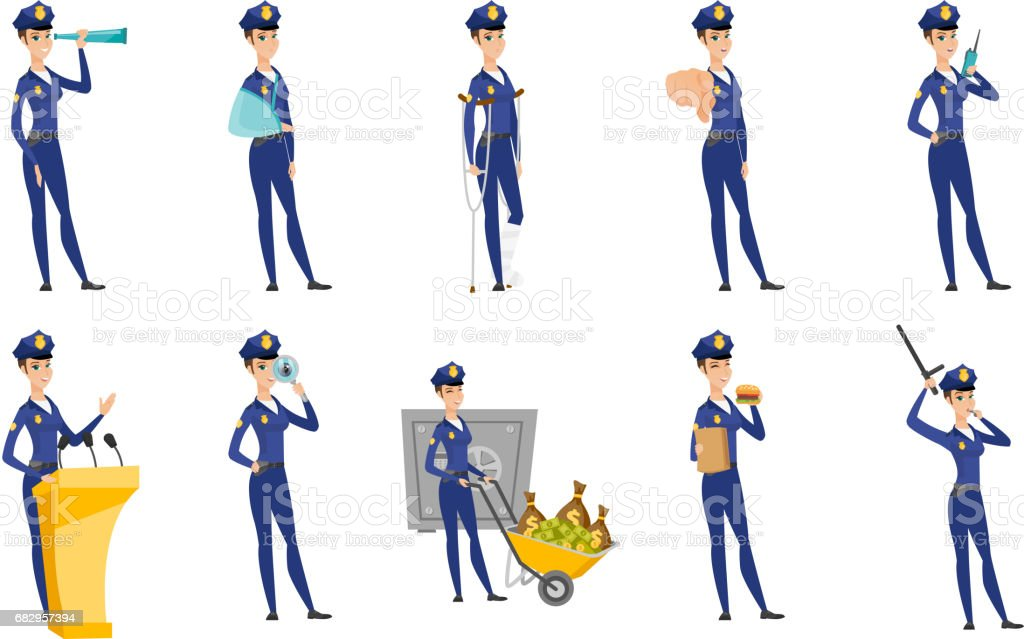 Vector set of police woman characters royalty-free vector set of police woman characters stock vector art & more images of canada