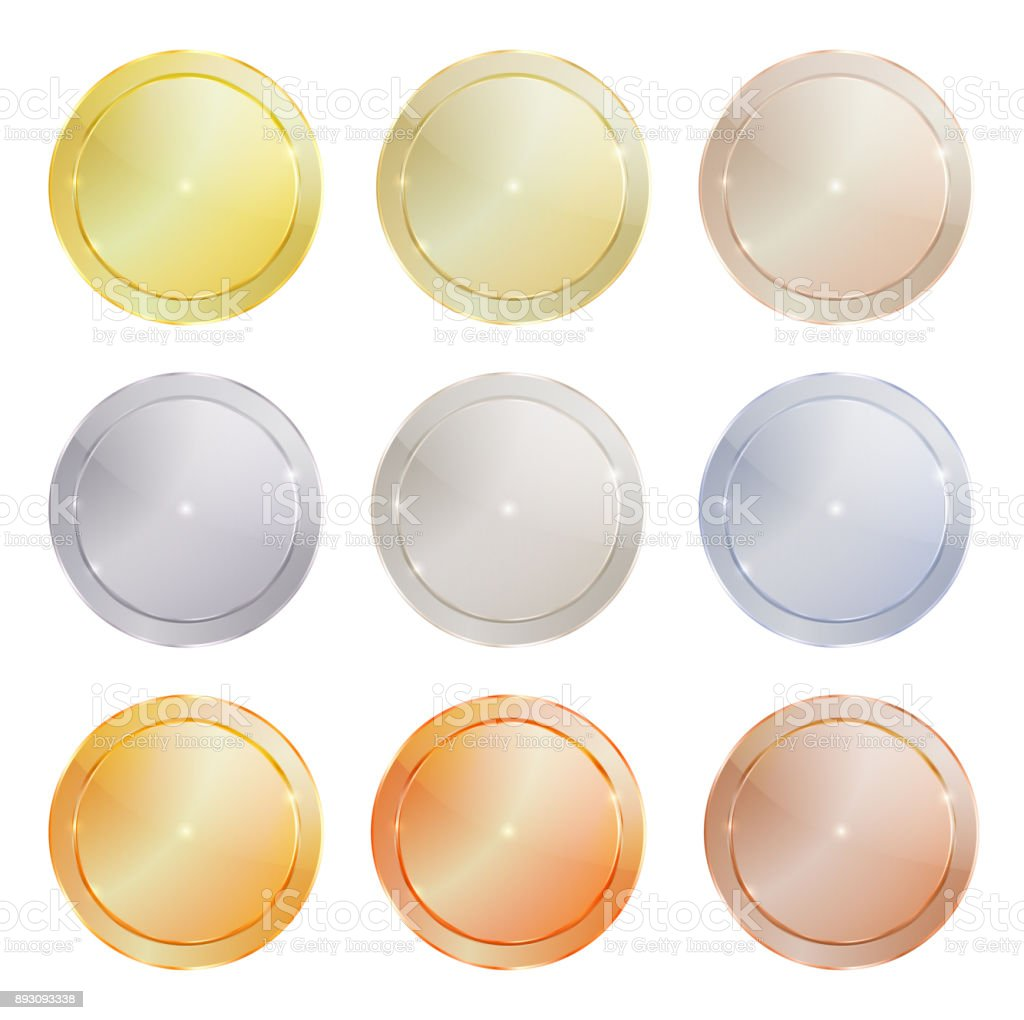 vector set of polished metal circular shape made of platinum, gold, red gold, silver, bronze, copper, aluminum, which can be used in web design as the medals, coins, buttons, sewing buttons, signs vector art illustration