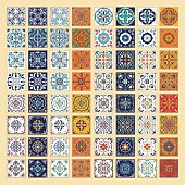 Vector set of Portuguese tiles. Azulejo, Spanish, Moroccan ornaments