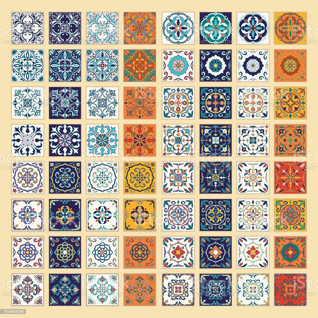 Vector set of Portuguese tiles. Azulejo, Spanish, Moroccan ornaments vector art illustration