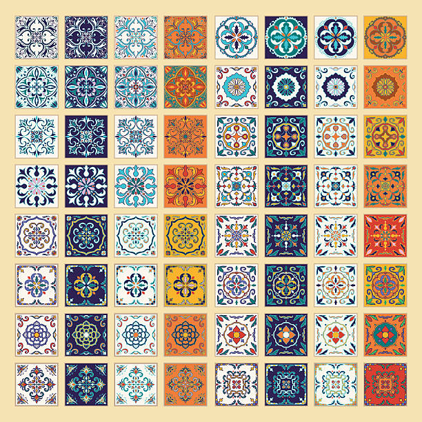 Vector set of Portuguese tiles. Azulejo, Spanish, Moroccan ornaments - ilustración de arte vectorial