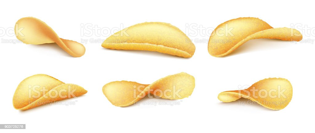 Vector set of potato chips isolated on background vector art illustration