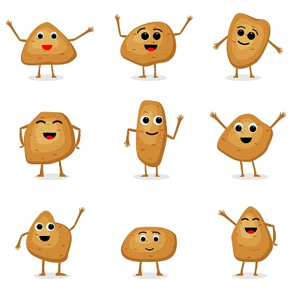 Vector set of potatoes characters. Cartoon potatoes isolated on white background. Cute vegetable characters. Vector illustration