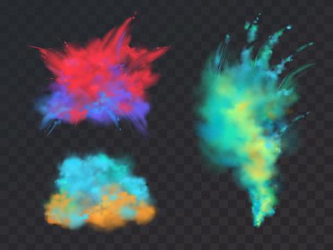 Vector set of powder explosions for Holi fest