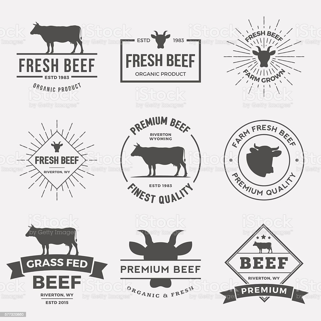 vector set of premium beef labels, badges and design elements. vector art illustration
