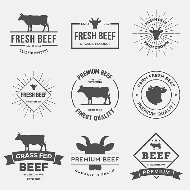 vector set of premium beef labels, badges and design elements. - 소고기 stock illustrations