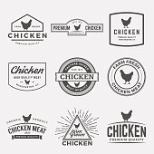 vector set of premium chicken meat labels, badges and designs