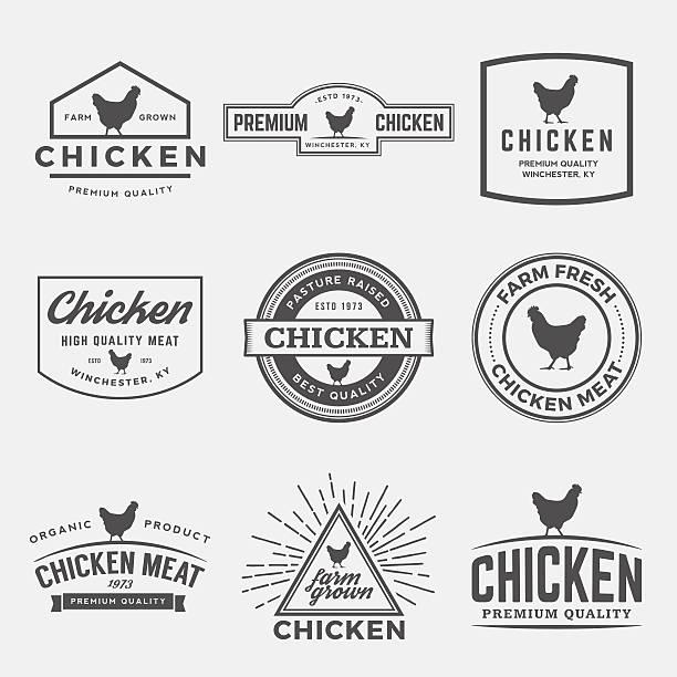 stockillustraties, clipart, cartoons en iconen met vector set of premium chicken meat labels, badges and designs - chicken bird in box