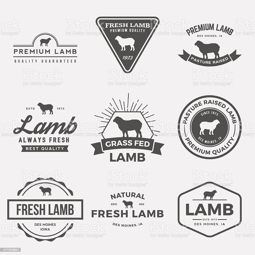 vector set of premium lamb labels, badges and design elements - Illustration vectorielle
