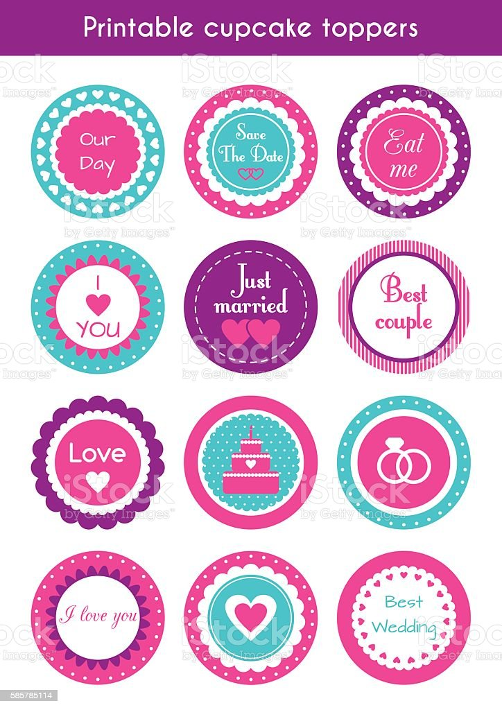 vector set of printable cupcake wedding toppers お祝いのベクター