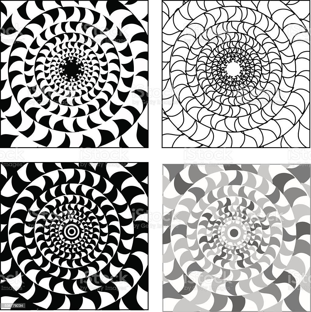 Vecteur de groupe de psychédélique noir blanc mosaïques circulaire décorations - Illustration vectorielle