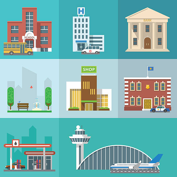 vector set of public buildings - flach stock-grafiken, -clipart, -cartoons und -symbole