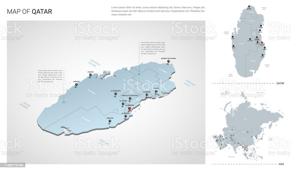 Vector Set Of Qatar Country Isometric 3d Map Qatar Map Asia ...