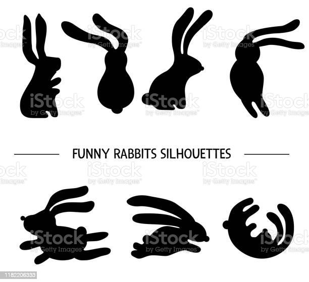 Vector set of rabbits silhouettes black and white illustration of in vector id1182206333?b=1&k=6&m=1182206333&s=612x612&h=wwvovls7kizf mx2bbozz1gzck7nhqro7jtxwy5oveq=