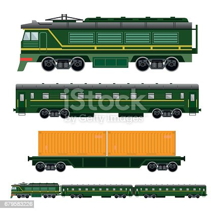 Set of railway transport: locomotive, passenger car and flatcar