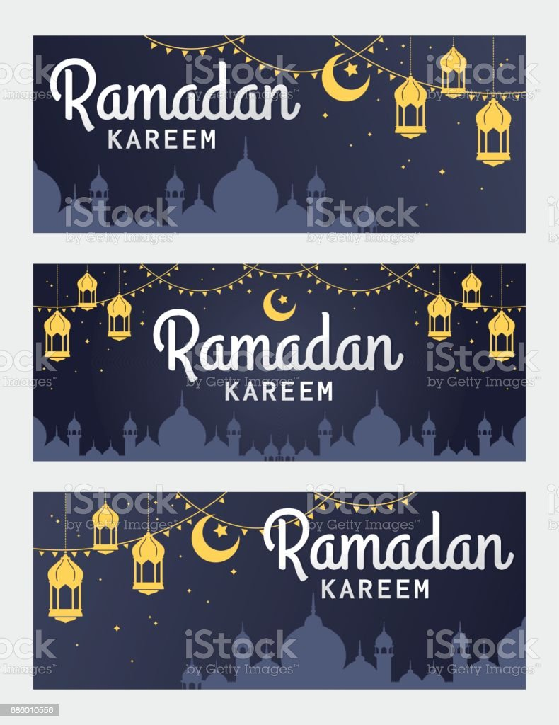 Vector set of Ramadan Kareem horizontal banner vector art illustration