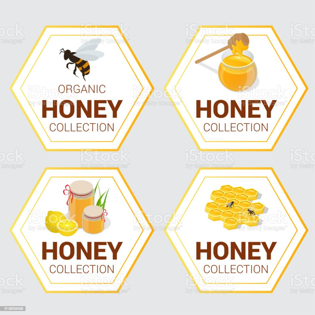 Vector set of Raw Honey labels for greetings and promotion, Bestseller, Best Choice, Sale, Special Offer. Graphic honeycomb, bee, pod, flowers. Banners and sticker. vector art illustration