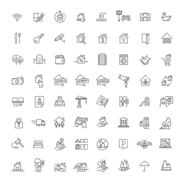 vector set of real estate related vector line icons - sprzedawać stock illustrations