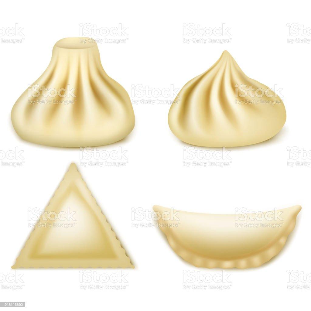 Vector Set Of Realistic 3d Dumplings Khinkali Ravioli Pelmeni Samosa ...