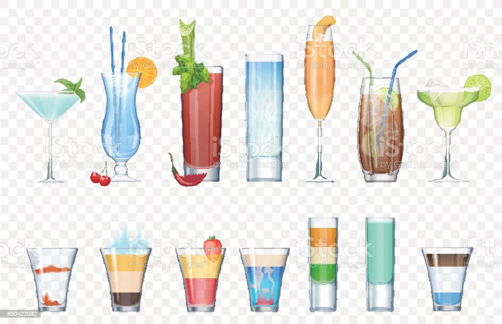 Vector Set of realistic alcoholic cocktails isolated on the alpha transperant background. Club party summer cocktails in mixed glasses. Short and long cocktails collection. vector art illustration