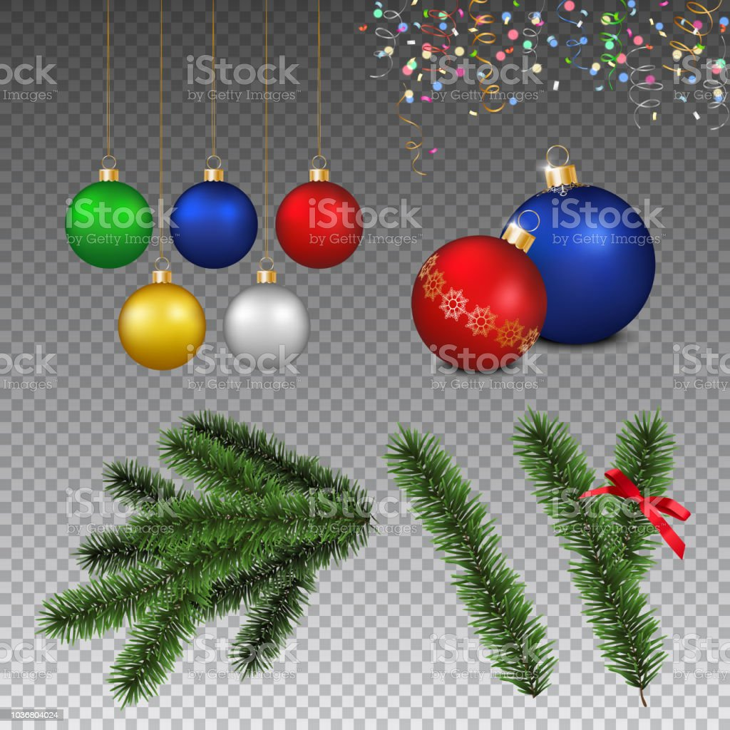Vector Set Of Realistic Christmas Decorations And Coniferous Branch
