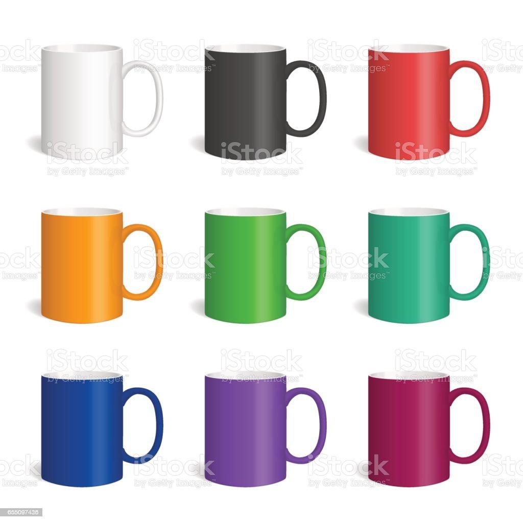 Vector set of realistic colored cearmic mugs. vector art illustration
